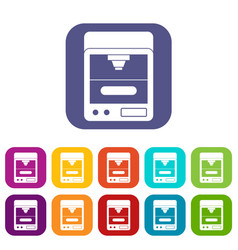 3d printer icons set flat vector