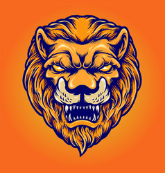 angry lion head mascot logo isolated vector image