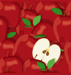 Apple pile seamless pattern and half red apples vector