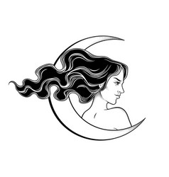 Beautiful brunette witch and crescent moon vector