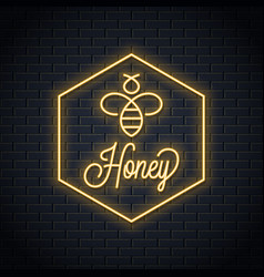 Bee honey neon logo honeycomb neon sign vector