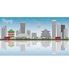 Beijing Skyline with Gray Buildings vector