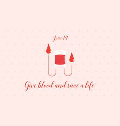 Blood donor day background flat vector