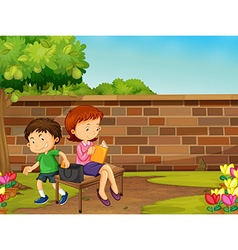 Boy stealing woman wallet in the park vector
