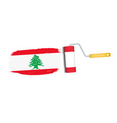 Brush stroke with lebanon national flag isolated vector