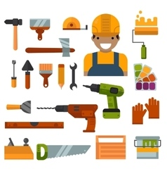 Building home repair and decoration works tools vector image