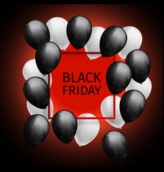 Bunch of black white balloons frame black friday vector