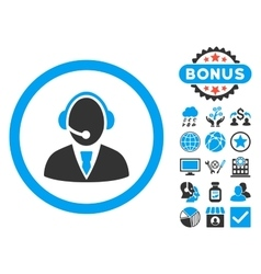 Call Center Worker Flat Icon with Bonus vector