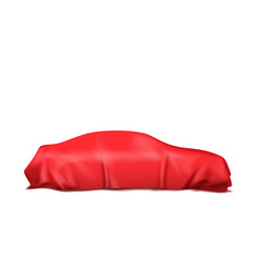 car covered with red silk isolated on white vector image