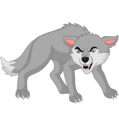 Cartoon angry wolf isolated on white background vector