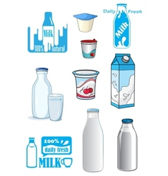 Cartoon milk products and drinks vector