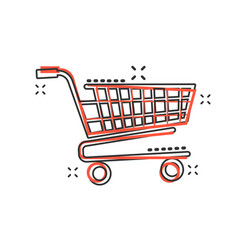 cartoon shopping cart icon in comic style shop vector image
