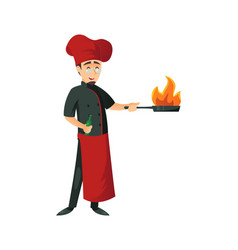 cheerful cook man doing flambe vector image
