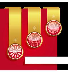 Christmas ribbon set with snowflakes vector image vector image