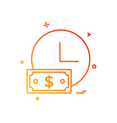 clock watch dollar icon design vector image