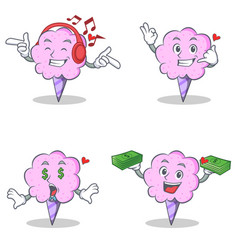 Cotton candy character set with listening call me vector