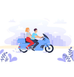 Couple on a motorcycle vector
