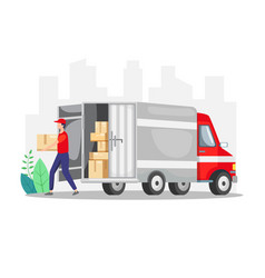 Courier delivering a package with truck vector