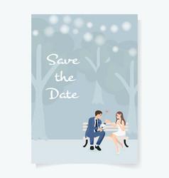 cute young wedding couple in garden wedding vector image