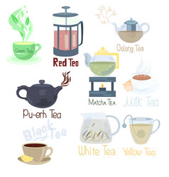 different tools for holding tea ceremonies with a vector image