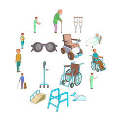 disability people care icons set cartoon style vector image