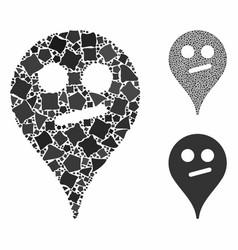 Doubt smiley map marker composition icon vector