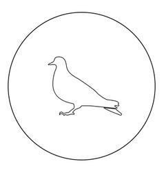 dove icon black color in circle vector image