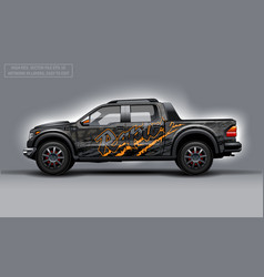 Editable template for wrap suv with raptor text vector