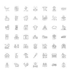 farm linear icons signs symbols line vector image
