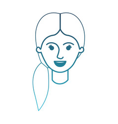 Female face with pigtail hair in degraded blue vector