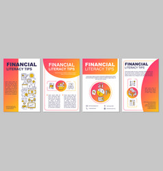 Financial literacy tips brochure template vector