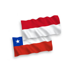 Flags indonesia and chile on a white background vector