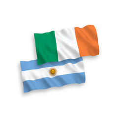 Flags ireland and argentina on a white vector