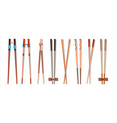 Food chopsticks realistic 3d bamboo sticks for vector