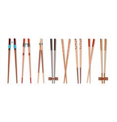 food chopsticks realistic 3d bamboo sticks vector image