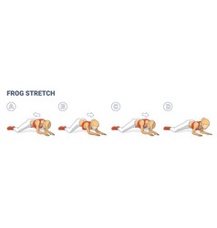 Frog stretch exercise for female home workout vector