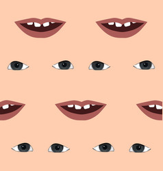 funny pattern with lips and eyes seamless vector image