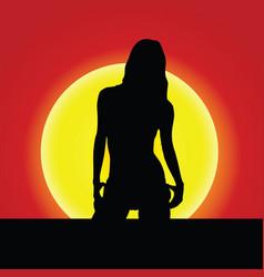 Girl silhouette on sunset vector