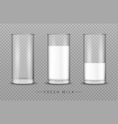 glass of milk realistic isolated on vector image
