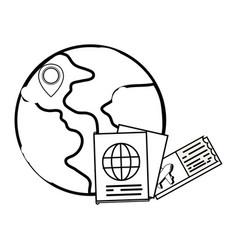 Globe with passport vector