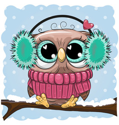 Greeting christmas card wih owl on a branch vector