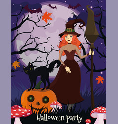 halloween poster with a witch a black cat and a vector image