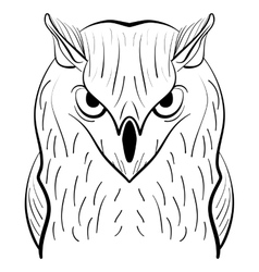 Hand drawn black white owl Tribal owl vector