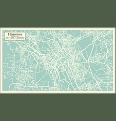 hannover germany city map in retro style vector image