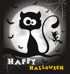 happy halloween black cat vector image