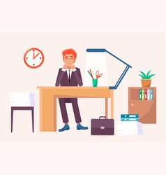 happy male sitting at workplace and smiling vector image