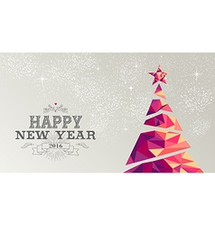 Happy new year 2016 card christmas tree triangle vector