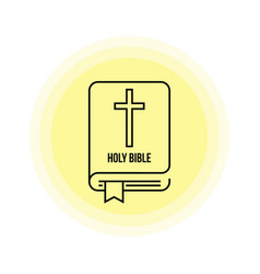 holy bible icon with cross vector image