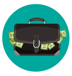 icon black leather briefcase full cash vector image