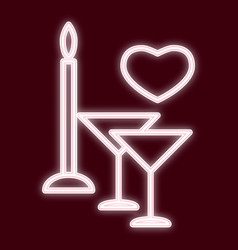 image of glasses with a candle and heart vector image